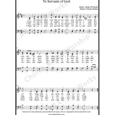 Ye servants of God Sheet Music (SATB) with Practice Music tracks. Make unlimited copies of sheet music and the practice music.