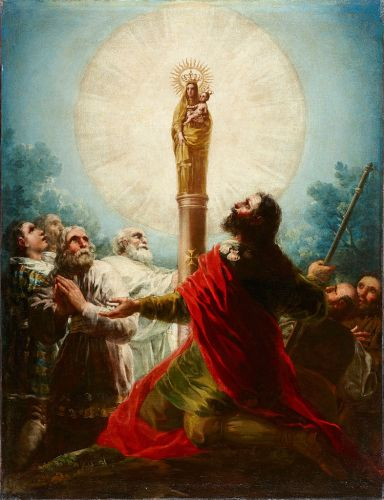 A painting of Our Lady of the Pillar appearing to St. James in the 1st century. By Francisco de Goya, 18th century. / Public Domain, Wikipedia