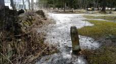Yksinäinen kivi seisoo hautausmaan pohjoisosassa.