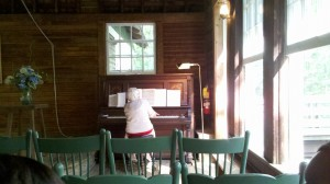 Little Brown Church lady at piano
