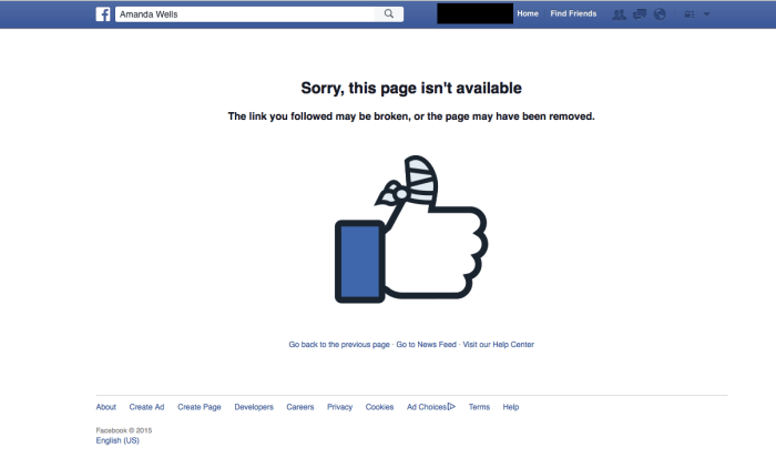 Amanda Wells Facebook Removed