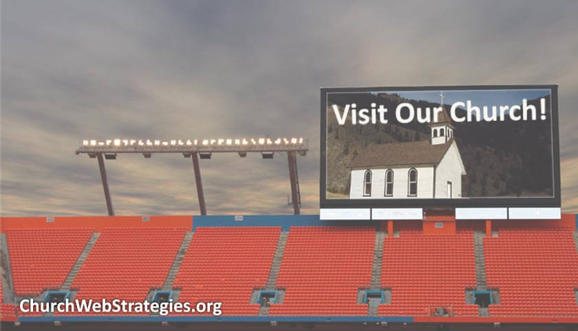 billboard at stadium showing a church advertisement