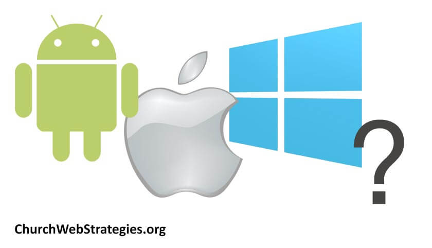 logos for Android, Apple, and Windows