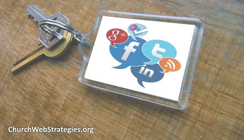 key chain with common social media icons on it