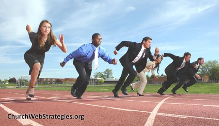 business people running on track