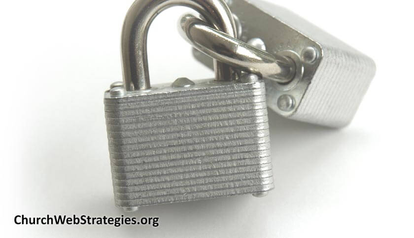 interlocking padlocks on table