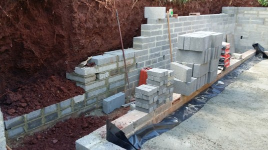 Retaining wall and foundations.