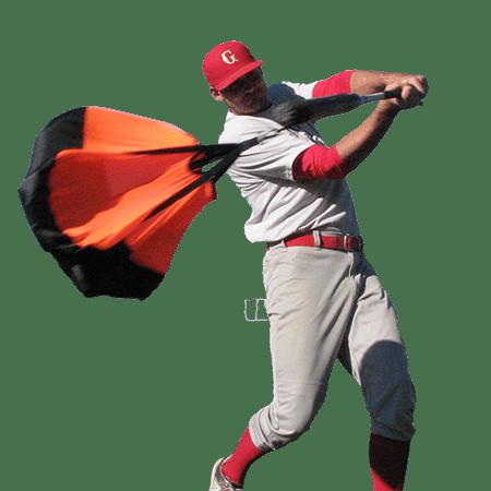Baseball player using the baseball swing trainer chute by chute trainer.