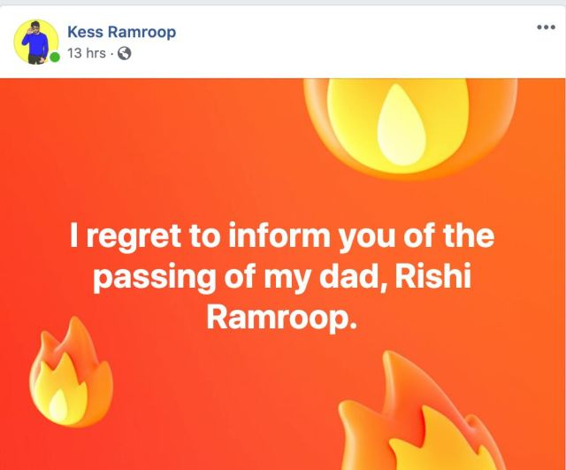Death Announcement Rishi Ramroop (Kess Ramroop or Dr Tunes's Father)