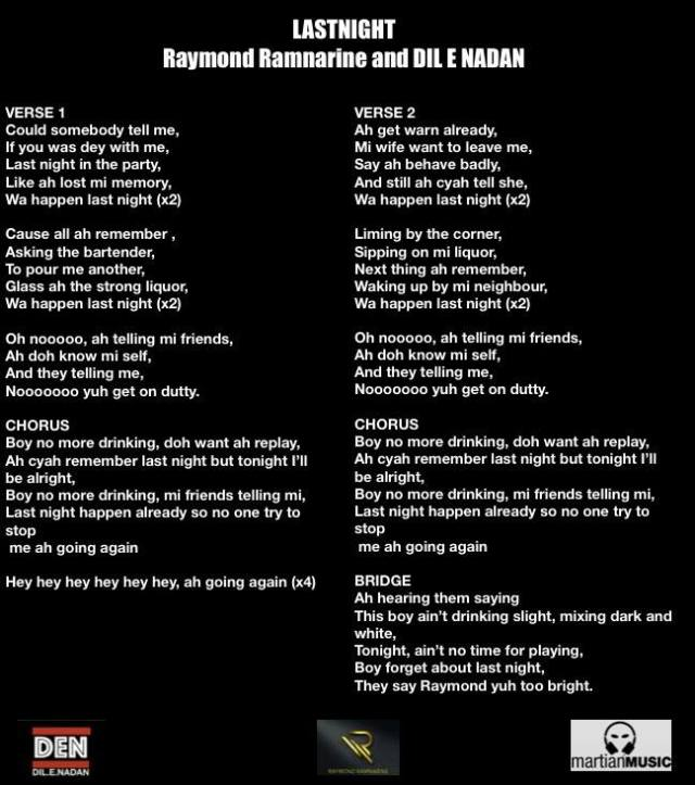 Raymond Ramnarine Dilenadan Last Night Lyrics