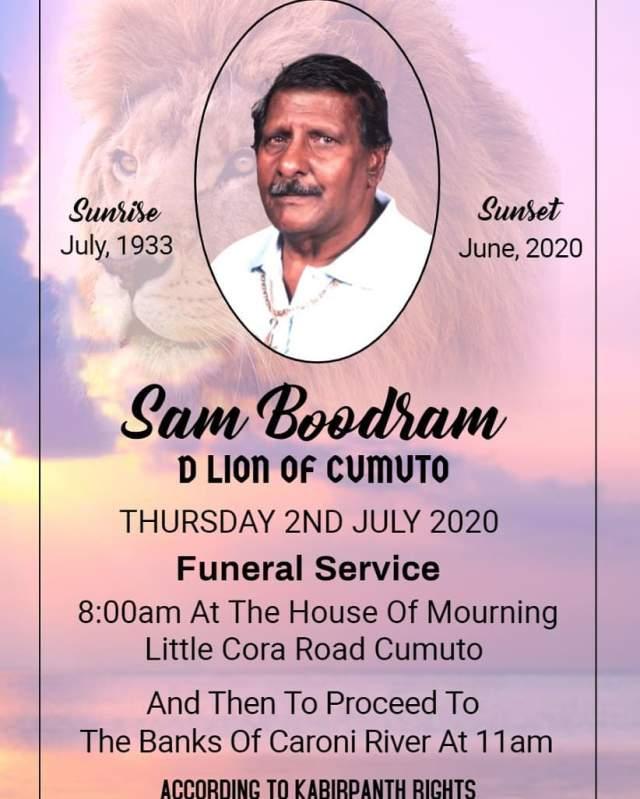Sam Boodram Wake, Funeral & Cremation