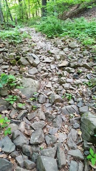 Đường đi toàn đá lởm chởm