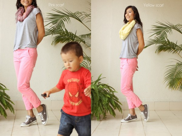 neon pants yellow scarf Sanctum e4
