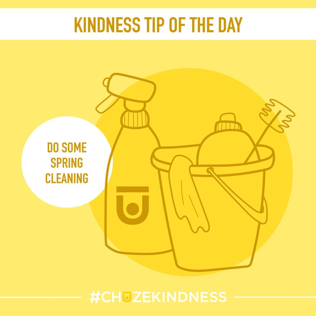 """Yellow Kindness Tip Of The Day Graphic with cleaning supplies that says """"Do Some Spring Cleaning."""""""