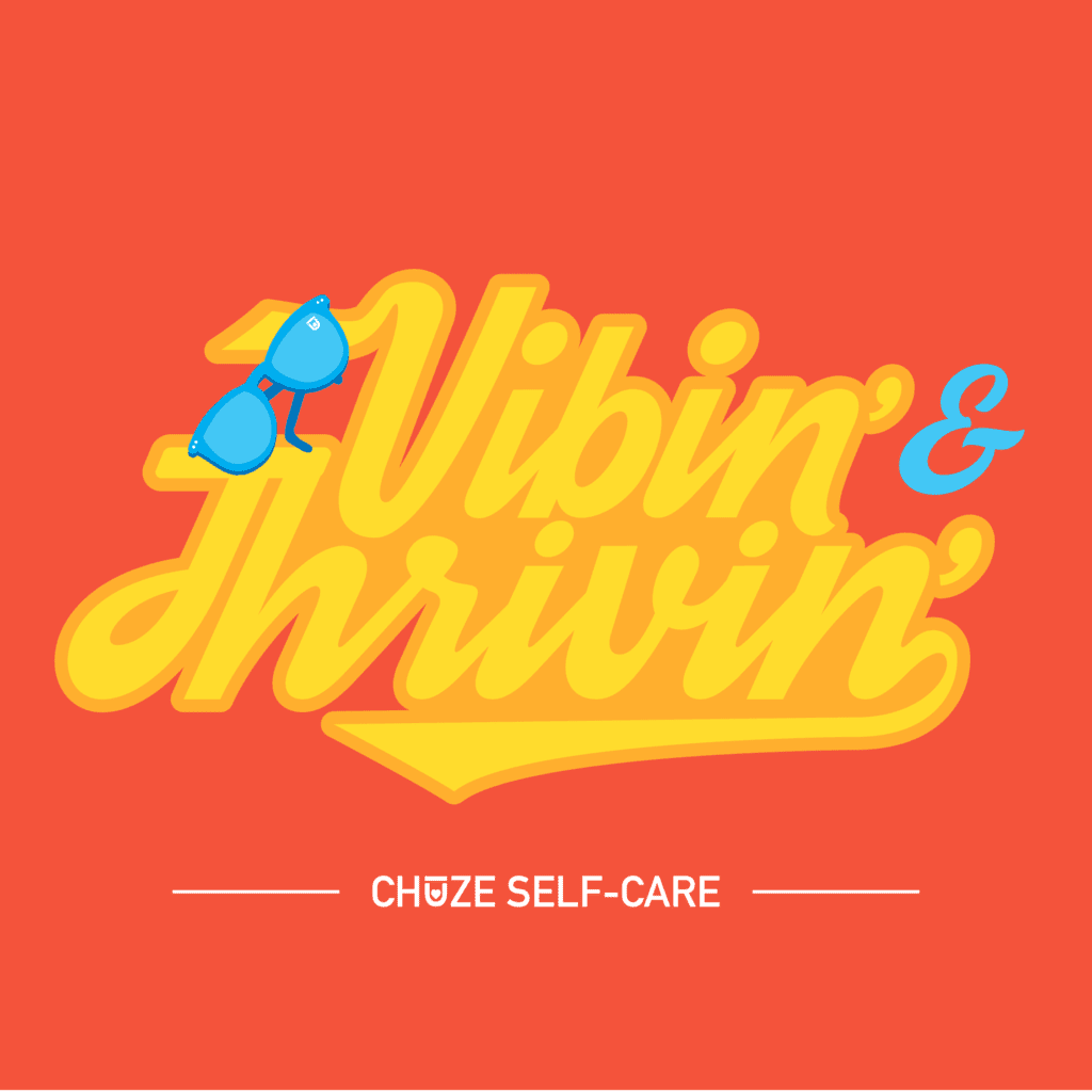"An orange illustration that says ""Vibin' & Thrivin'"" in retro yellow letters"