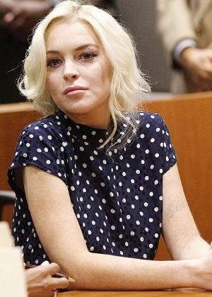 Lindsay Lohan durante uma das audiências