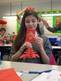 Brune Park School's Year 7 MEP students received the red envelope from Mandarin teacher