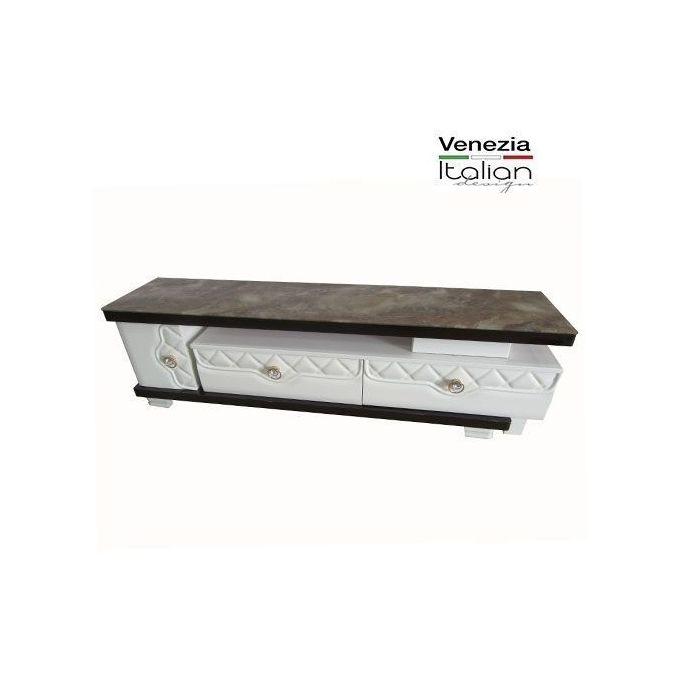 meuble tv a 2 tiroirs 1 porte extensible 1 m 50 a 2 m 40 cm tv 801 marron beige
