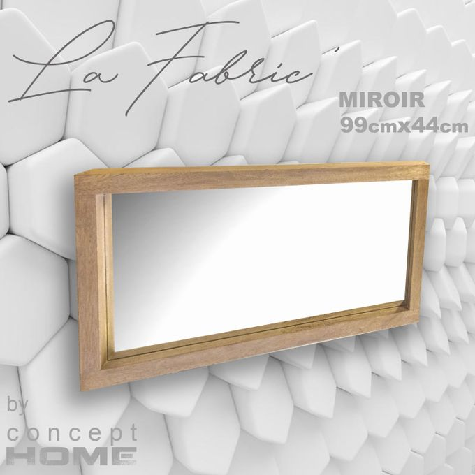 miroir mural horizontal vertical bois massif cadre epais l 4cm p 8cm 99x44cm