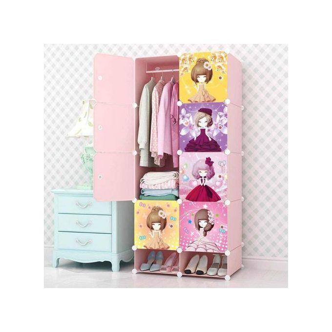 armoire etagere de rangement plastique demontable 8 cubes rose