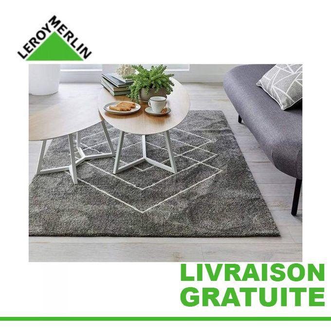 tapis de salon rectangulaire square gris l 120 x l 170 cm