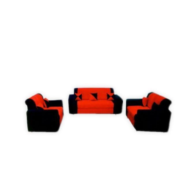 salon de fauteuils de 7 places tissu daim rouge noir