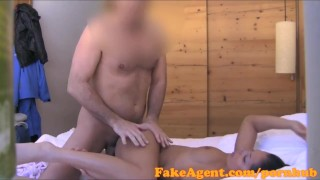 FakeAgent Brunette babe takes cock up the mountains