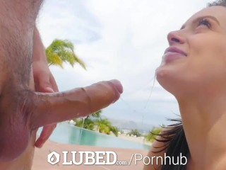LUBED Asshole licked and pussy fucked outdoors with Lana Rhoades