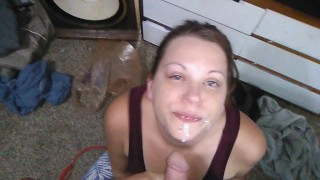 amazing blowjob with deepthroat, crying and facial cumshot