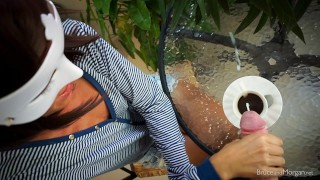 Stunning Teen does Blowjob, Cum in Coffee, Watersports