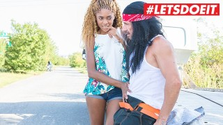 LETSDOEIT - Helpless Ebony Begs For Ride and Gets Rough Outdoor Sex