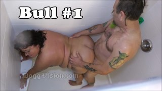 Hubby and 2 Bulls Fuck BBW Wife in Shower