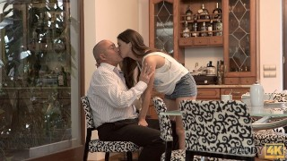 DADDY4K. Old man kisses, licks and fucks young beauty with enthusiasm