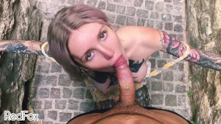Public and sloppy POV BJ on a Paris street from a beautiful blonde - RedFox