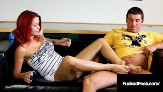 Cock stroking Catherine Foxx Foot Fucks Hard Cock John!