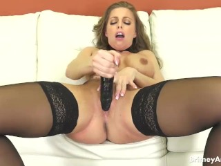 Big Tit Brunette Britney Amber Solo Masturbating With Dildo