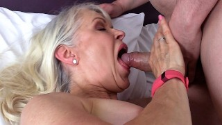 Dirty Old Granny Lady Sextasy Fucks Toyboy Big Dick in Stockings! Hot Gilf