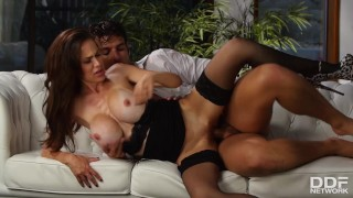 He can't resist that busty Milf McKenzie Lee and fucks her until she cums