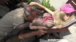 Senile Grandpa Creampies a Sex Doll