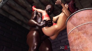 Horny red-haired girl gets fucked hard by black man in the basement