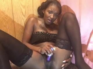 Ebony Cutie Mocca Angel  masturbates & Gets tease by Camera man