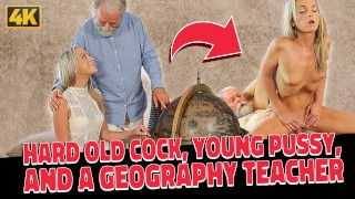 OLD4K. Old dad spends wonderful time with adorable blonde