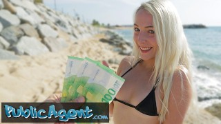 Public Agent Blonde Liz Rainbow fucked on the beach in a bikini