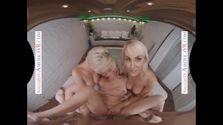 Naughty America - 3 babes share a big cock at the spa