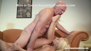 Senior Citizen Cleans Hot Babe's Pipes