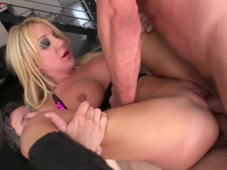 Only3x Amy Brookes threesome scene with double anal