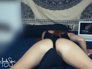 Caught humping pillow and watching LoveMyStepsisterSC Mega big booty Lesbian