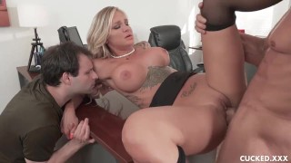 Sissy Hubby Watches Big Tits Blonde Wife Get Eaten Out And Plowed