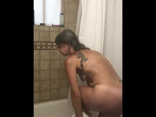 Boiling hot & Sweaty older woman Showers Off