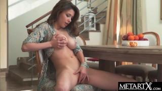 Watch cute Mila Azul squeeze her big tits while she masturbates